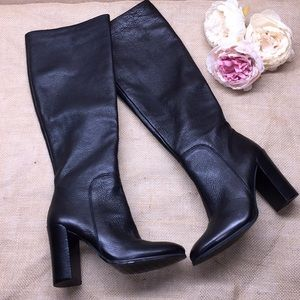Kenneth Cole Black Leather Tall Boots 5M